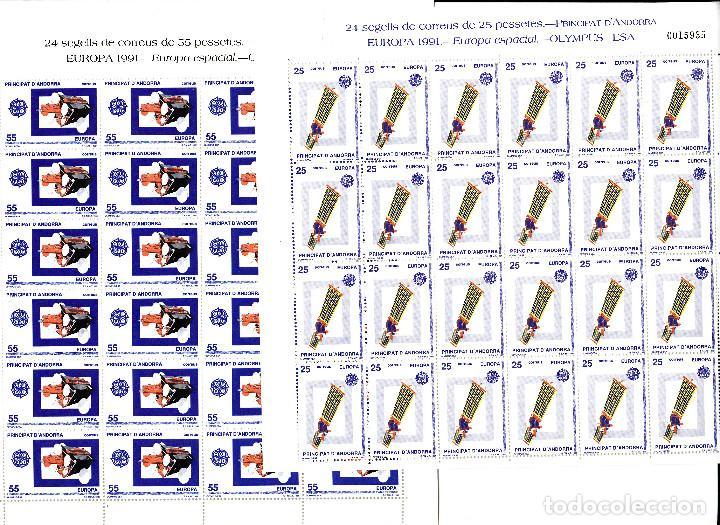 ANDORRA -PLIEGO DE 24 SELLOS EUROPA 1991 -EUROPA ESPACIAL - OLYMPUS ESA NUM.225-226 (Sellos - España - Dependencias Postales - Andorra Española)
