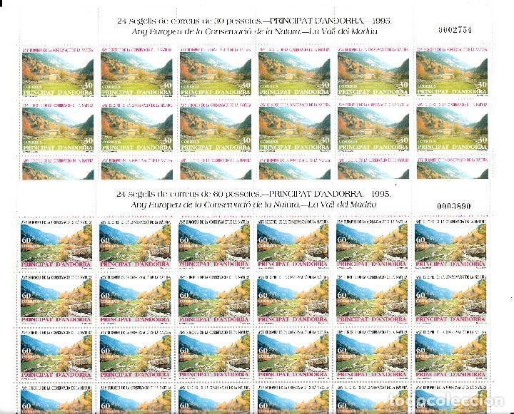 ANDORRA - 2 PLIEGOS DE 24 SELLOS AÑO EUROPEO CONSRV. NAT. 1995 NUMS. 246-247 (Sellos - España - Dependencias Postales - Andorra Española)