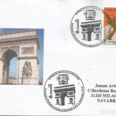 Sellos: ANDORRA MAT 72 SALON DE AUTOMME ARCO DEL TRIUNFO PARIS ARQUITECTURA. Lote 146904486