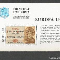 Sellos: ANDORRA VEGUERIA EPISCOPAL HOJA EUROPA 1983 ** NUEVA. Lote 151495078