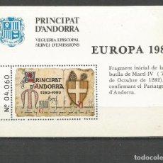 Sellos: ANDORRA VEGUERIA EPISCOPAL HOJA EUROPA 1982 ** NUEVA. Lote 151495118