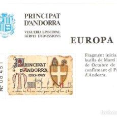 Selos: ANDORRA ESPAÑOL HOJITA EUROPA 1982 VEGUERIA EPISCOPAL PRINCIPAT D'ANDORRA. Lote 160332258