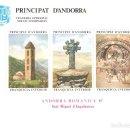 Sellos: HOJITA ANDORRA ROMÁNICA SANT MIGUEL D'ENGOLASTERS 1987 VEGUERIA EPISCOPAL PRINCIPAT D'ANDORRA . Lote 160332742