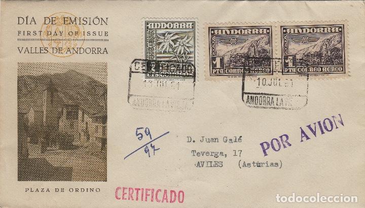 ANDORRA C.ESPAÑOL - PAISAJE ,PLAZA ORDINO 1951 ED 59 (2) - SOBRE /SPD PRIMER DIA CIRCULADO DE D.P. (Sellos - España - Dependencias Postales - Andorra Española)
