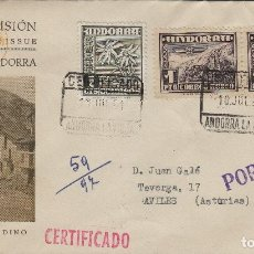 Sellos: ANDORRA C.ESPAÑOL - PAISAJE ,PLAZA ORDINO 1951 ED 59 (2) - SOBRE /SPD PRIMER DIA CIRCULADO DE D.P.. Lote 161013158