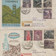 Sellos: ANDORRA ESPAÑOLA . 1963-64 , ED 60/67 EN SOBRE /SPD (2) PRIMER DIA CIRCULADO . . Lote 166942628