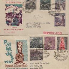 Sellos: ANDORRA ESPAÑOLA . 1963-64 , ED 60/67 EN SOBRE /SPD (2) PRIMER DIA CIRCULADO . DP . Lote 166942668