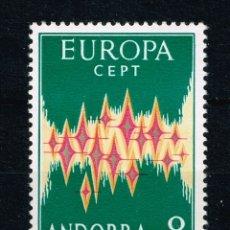 Sellos: EDIFIL 72 ANDORRA 8 PTS EUROPA 1972 CEPT NUEVO SIN FIJASELLOS, PERFECTO, CATÁLOGO 120€. Lote 178239650