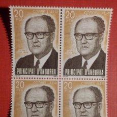 Sellos: SELLO - ANDORRA CORREO ESPAÑOL - BLOQUE DE 4 - EDIFIL 173 - 1983 - 20 PTA - PERSONAJES. Lote 182084051