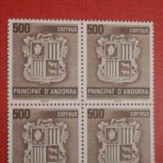 Selos: SELLO - ANDORRA CORREO ESPAÑOL - BLOQUE DE 4 - EDIFIL 212 - 1988 - 500 PTA - ESCUDO ANDORRA. Lote 267757929