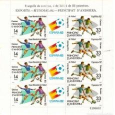 Sellos: MINIPLIEGO DE 4 SERIES DE ANDORRA ESPAÑOLA MUNDIAL FUTBOL 1982. Lote 183463816