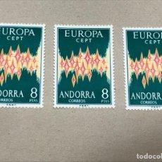 Sellos: LOTE DE 3 SELLOS EDIFIL 72 ANDORRA 8 PTS EUROPA 1972 CEPT NUEVOS SIN FIJASELLOS, PERFECTOS, CAT 360€. Lote 218115061