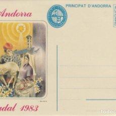 Sellos: ANDORRA - SOBRE ENTERO POSTAL - FRANQUICIA - NADAL 1983. Lote 196926000