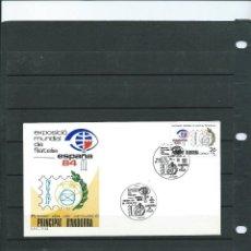 Sellos: SOBRE DE PRIMER DIA DE ANDORRA ESPAÑOLA DEL AÑO 1984 DE LA EXP MUNDIAL DE FILATELIA ESPAÑA 84. Lote 197412718
