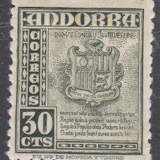 Sellos: ANDORRA ESPAÑOLA.- Nº 50 ESCUDO DE ANDORRA CON HUELLA DE CHARNELA . . Lote 198634132
