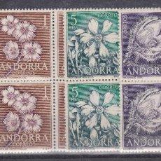 Sellos: ANDORRA ESPAÑOLA.- Nº 68/71 FLORES EN BLOQUE DE CUATRO NUEVO SIN CHARNELA. . Lote 198835322