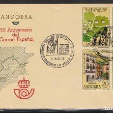 Sellos: ANDORRA ESPAÑOLA.- Nº 116 ANIVERSARIO DE CORREO EN SOBRE DE PRIMER DÍA. . Lote 198836497