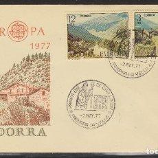 Sellos: ANDORRA ESPAÑOLA.- Nº 108/09 EUROPA 1977 EN SOBRE DE PRIMER DÍA. . Lote 198836656