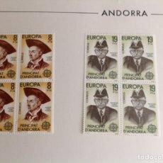 Sellos: 1980 ANDORRA. EUROPA. BLOQUES DE CUATRO. Lote 203272723