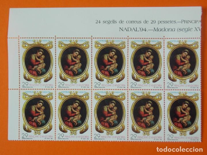 ANDORRA, EDIFIL 245, NAVIDAD 94, COMPLETA, AÑO 1994, 1 BLOQUE DE 10 SELLOS, NUEVOS.. L1012 (Sellos - España - Dependencias Postales - Andorra Española)