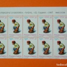 Sellos: ANDORRA, EDIFIL 260, NAVIDAD 97, EL CAGANER, COMPLETA,1997, 1 BLOQUE DE 10 SELLOS, NUEVOS.. L1014. Lote 204202621