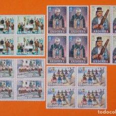 Sellos: ANDORRA, EDIFIL 80/84, COSTUMBRES POPULARES, 1972 - COMPLETA EN 5 BLOQUES DE 4 SELLOS, NUEVO.. L1023. Lote 204703881