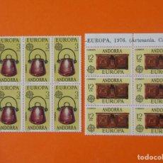 Sellos: ANDORRA, EDIFIL 102/03, EUROPA, 1976 - COMPLETA EN 2 BLOQUES DE 6 SELLOS, NUEVO.. L1029. Lote 204706513