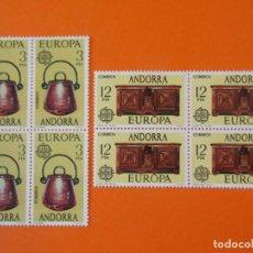 Sellos: ANDORRA, EDIFIL 102/03, EUROPA, 1976 - COMPLETA EN 2 BLOQUES DE 4 SELLOS, NUEVO.. L1030. Lote 204706745