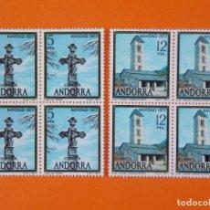 Sellos: ANDORRA, EDIFIL 110/11, NAVIDAD, 1977 - COMPLETA EN 2 BLOQUES DE 4 SELLOS, NUEVO.. L1033. Lote 204707436