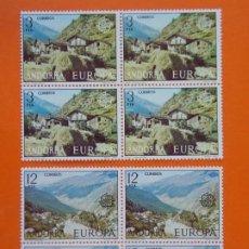 Sellos: ANDORRA, EDIFIL 108/09, EUROPA, 1977 - COMPLETA EN 2 BLOQUES DE 4 SELLOS, NUEVO.. L1035. Lote 204708008