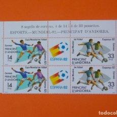 Sellos: ANDORRA, EDIFIL 160/61, MUNDIAL 82 ESPAÑA, 1982 - 1 BLOQUE DE 2 + 2 SELLOS, NUEVO.. L1039. Lote 204710807