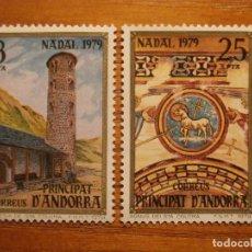 Sellos: ANDORRA CORREO ESPAÑOL - EDIFIL 128, 129 - 8 Y 25 PTA - 1979 - SERIE IGLESIA SANTA COLOMA, NUEVOS. Lote 245228095