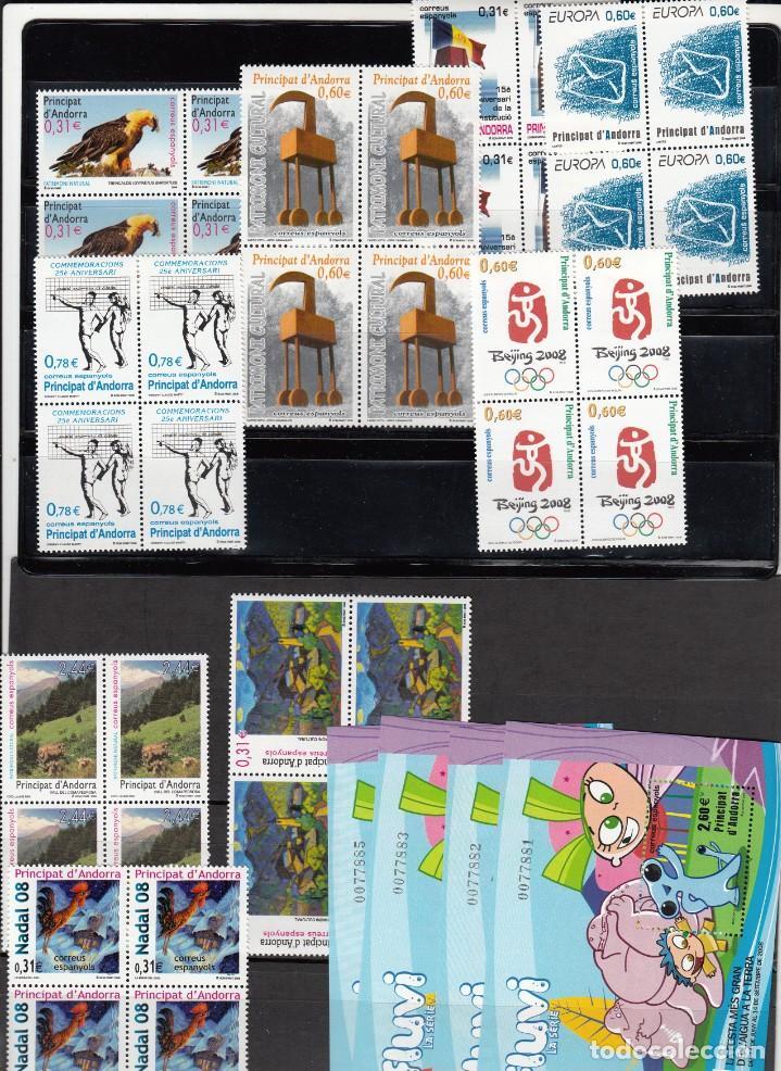 ANDORRA ESPAÑOLA -BLOQUE DE 4 SELLOS NUEVOS 2008 AÑO COMPLETO- PRECIO FACIAL (Sellos - España - Dependencias Postales - Andorra Española)