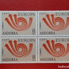 Sellos: SELLO ANDORRA ESPAÑOLA 1973 BLOQUE DE 4. Lote 205166936