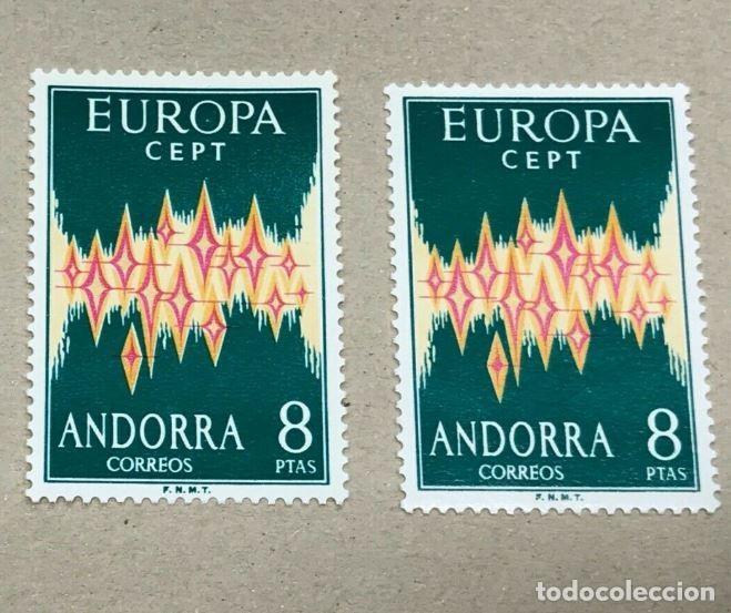 LOTE DE 2 SELLOS EDIFIL 72 ANDORRA 8 PTS EUROPA 1972 CEPT NUEVOS SIN FIJASELLOS, PERFECTOS, CAT 240€ (Sellos - España - Dependencias Postales - Andorra Española)