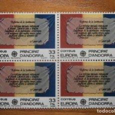 Sellos: ANDORRA CORREO ESPAÑOL - EDIFIL 158 - 33 PTA - 1982 - REFORMA INSTITUCIONES - BLOQUE DE 4 - NUEVO. Lote 206502468
