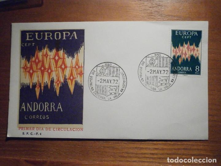 Sellos: SOBRE PRIMER DÍA CIRCULACIÓ - ANDORRA S.F.C.- F.4 1972 - EUROPA - 2-MAYO - EDIFIL 72 - Foto 5 - 209315421