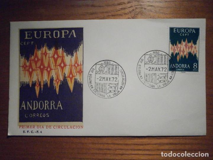 SOBRE PRIMER DÍA CIRCULACIÓ - ANDORRA S.F.C.- F.4 1972 - EUROPA - 2-MAYO - EDIFIL 72 (Sellos - España - Dependencias Postales - Andorra Española)