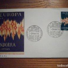 Sellos: SOBRE PRIMER DÍA CIRCULACIÓ - ANDORRA S.F.C.- F.4 1972 - EUROPA - 2-MAYO - EDIFIL 72. Lote 209315421