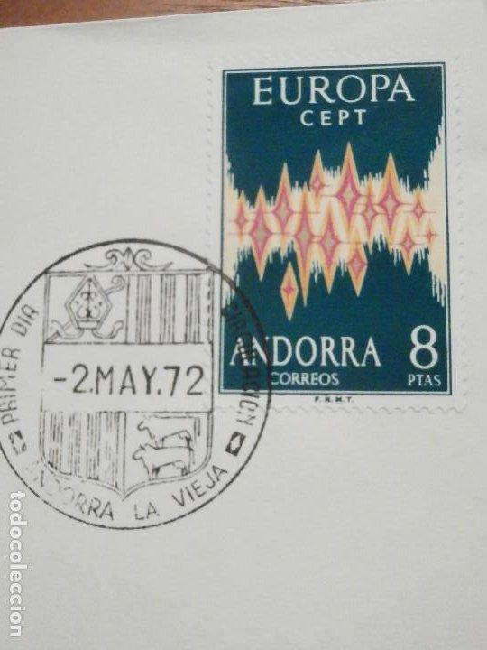 Sellos: SOBRE PRIMER DÍA CIRCULACIÓ - ANDORRA S.F.C.- F.4 1972 - EUROPA - 2-MAYO - EDIFIL 72 - Foto 3 - 209315421
