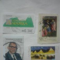 Sellos: LOTE DE 4 SELLOS DISTINTOS PRINCIPAT DE ANDORRA ATM SALVADOR ESPRIU NAVIDAD CORREUS. Lote 213409352