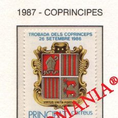 "Sellos: ""1987 ESCUDO COAT OF ARMS COPRINCIPES CO - PRINCES 195 ** MNH ANDORRA TC21911"". Lote 214437943"