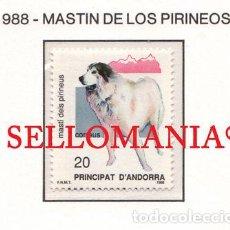 """Sellos: """"1988 NATURALEZA MASTIN PIRINEOS PYRENEAN MASTIFF DOG 206 ** MNH ANDORRA TC21919"""". Lote 214437956"""