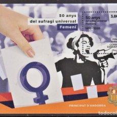 Sellos: 4.- ANDORRA ESPAÑOLA 2020 50 AÑOS DEL SUFRAGIO UNIVERSAL FEMENINO. Lote 218593572
