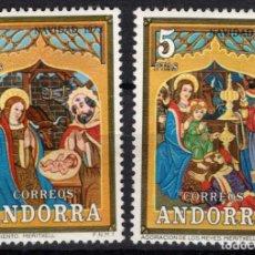 Sellos: ANDORRA 87/88* - AÑO 1973 - NAVIDAD - ARTE - RETABLO DE NUESTRA SEÑORA DE MERITXELL. Lote 218630065