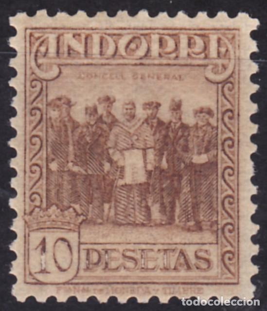 D61 ANDORRA EDIFIL Nº 43 ** 10 PESETAS NUEVO SIN SEÑAL DE FIJASELLO. (Sellos - España - Dependencias Postales - Andorra Española)