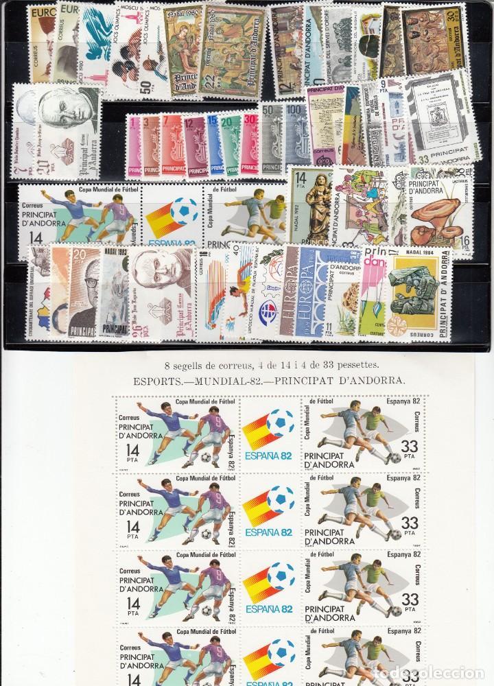 ANDORRA ESPAÑOLA - COMPLETO AÑOS 1980 A 1989 -NUEVOS SIN FIJASELLOS (Sellos - España - Dependencias Postales - Andorra Española)