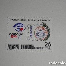 Sellos: ANDORRA EDIFIL 178*** - AÑO 1984 - EXPOSICIÓN FILATÉLICA MUNDIAL ESPAÑA 84 NUEVO. Lote 225194400