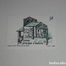 Sellos: ANDORRA EDIFIL 215*** - AÑO 1989 - TURISMO - IGLESIA DE SANT ROMA DE LES BONS NUEVO. Lote 225195130