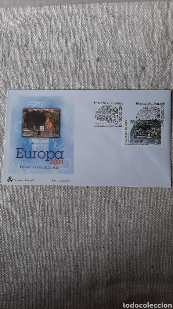 ANDORRA ESPAÑOLA EDIFIL 285 SFC A 2 2001 EUROPA FUENTE ROC DEL METGE ESCALDES FLORA FLORES (Sellos - España - Dependencias Postales - Andorra Española)